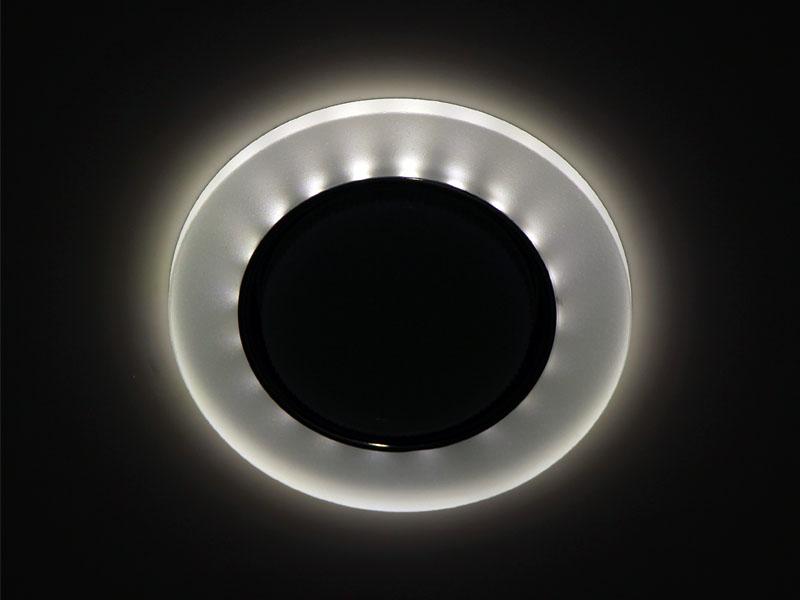 Светильник Ecola GX53 LD5310 стекло круг с подсветкой хром матовый