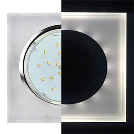 Светильник Ecola GX53 LD5311 стекло квадрат скошенный край с подсветкой хром матовый