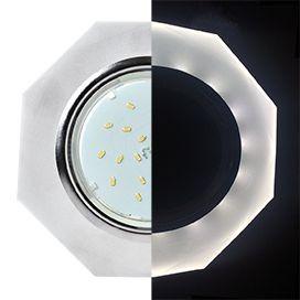 Светильник Ecola GX53 LD5312 стекло 8-угольник с подсветкой хром матовый