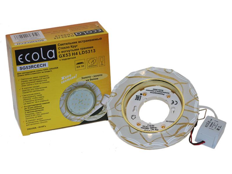 Светильник Ecola GX53 LD5313 стекло круг с вогнутыми гранями с подсветкой золото на белом