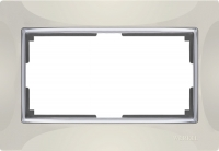 WERKEL SNABB Рамка для двойной розетки (слоновая кость/хром)  WL03-Frame-01-DBL