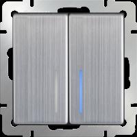 WERKEL Выключатель 2-кл. проходной с подсветкой (глянцевый никель) WL02-SW-2G-2W-LED