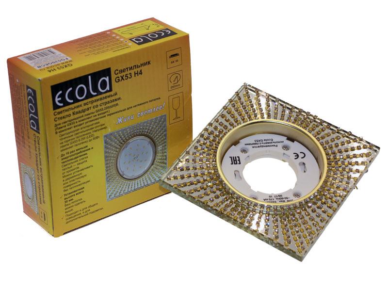 Светильник Ecola GX53 H4 квадрат с прозрачными стразами зеркальный золото
