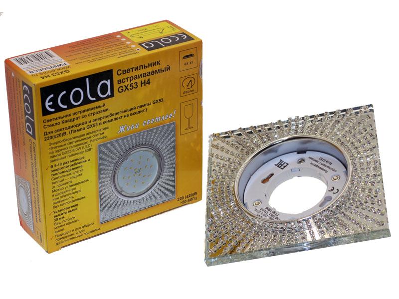 Светильник Ecola GX53 H4 квадрат с прозрачными стразами зеркальный хром