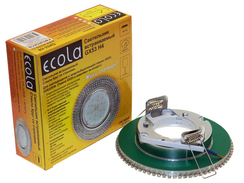 Светильник Ecola GX53 H4 круг с прозрачными стразами зеркальный хром