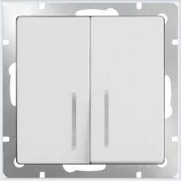 WERKEL Выключатель 2-кл. проходной с подсветкой (белый) WL01-SW-2G-2W-LED