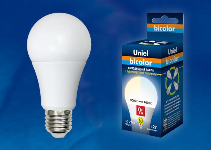 Лампа светодиодная Uniel E27  9Вт А60 BICOLOR 720Лм