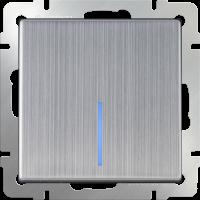 WERKEL Выключатель 1-кл. проходной с подсветкой (глянцевый никель) WL02-SW-1G-2W-LED
