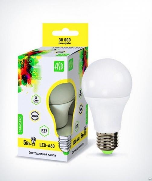 Лампа светодиодная ASD E27  5Вт шар A60 3000К 450Лм