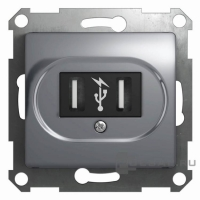 SchE GLOSSA алюминий мех-зм розетки 2-м. USBх2