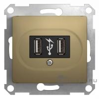Мех-м розет. USB 1-м GLOSSA титан