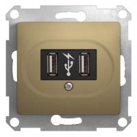 SchE GLOSSA титан мех-зм розетки 2-м. USBх2
