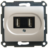 Мех-м розет. USB 1-м GLOSSA перл.
