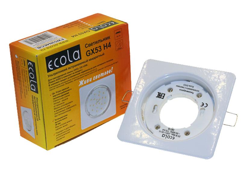 Светильник Ecola GX53 H4 квадрат плоский белый