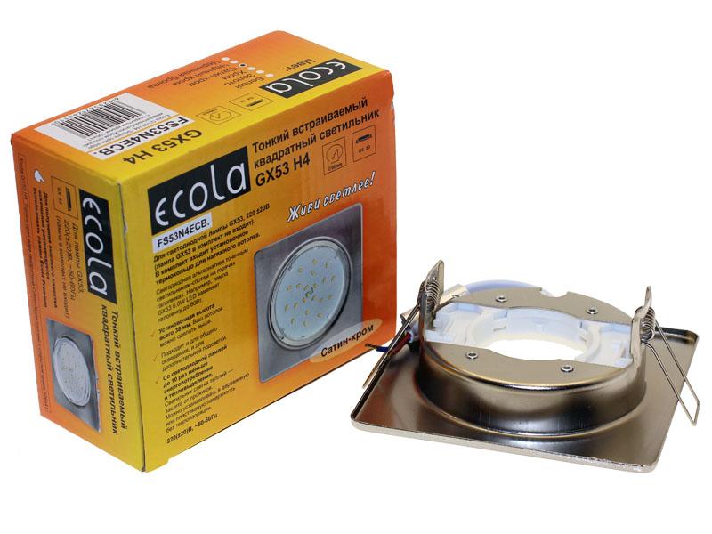 Светильник Ecola GX53 H4 квадрат плоский сатин хром
