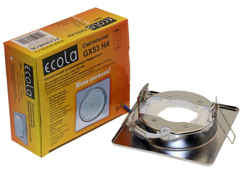 Светильник Ecola GX53 H4 квадрат плоский хром