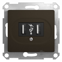 Мех-м розет. USB 1-м GLOSSA шокол.