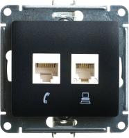 SchE GLOSSA антрацит мех-зм розетки 2-м. комп.+телеф. RJ45+RJ11