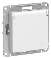 SchE AtlasDesign белый мех-зм розетки с/з з/ш с крыш. 16А