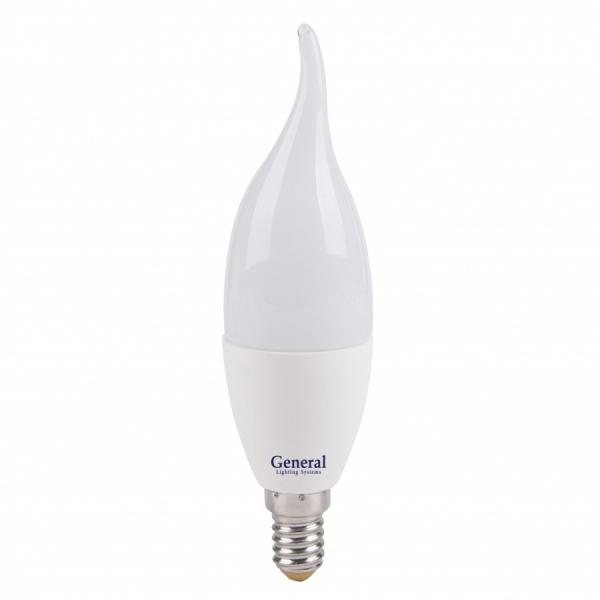 Лампа светодиодная General E14 7Вт свеча на ветру 540Лм 2700К Распродажа!