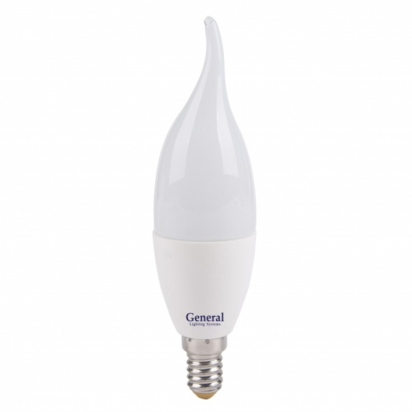 Лампа светодиодная General E14 7Вт свеча на ветру 560Лм 4500К