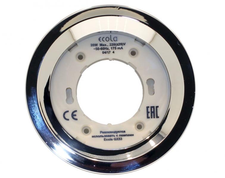 Светильник Ecola GX53 FT3225 встраиваемый глубокий легкий хром