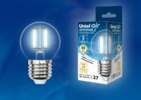 Лампа светодиодная Uniel Air нитевидн. шар диммир. E27 5W(450lm 360°) 4000K прозр. 45x78