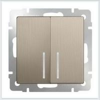 WERKEL Выключатель 2-кл. проходной с подсветкой (шампань рифленый) WL10-SW-2G-2W-LED
