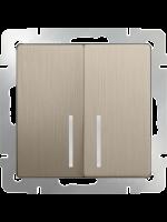 WERKEL Выключатель 2-кл. с подсветкой (шампань рифленый) WL10-SW-2G-LED