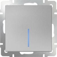 WERKEL Выключатель 1-кл. с подсветкой (серебро рифленый) WL09-SW-1G-LED