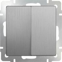 WERKEL Выключатель 2-кл. (серебро рифленый) WL09-SW-2G