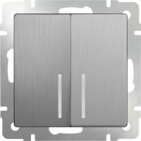 WERKEL Выключатель 2-кл. проходной с подсветкой (серебро рифленый) WL09-SW-2G-2W-LED
