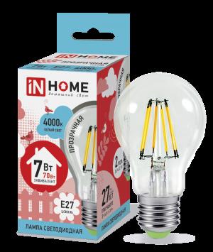 Лампа светодиодная IN HOME E27  7Вт шар A60 прозрачн. 4000К 630Лм
