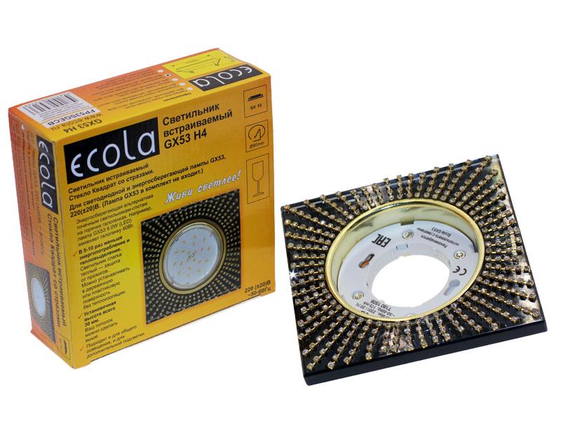 Светильник Ecola GX53 H4 квадрат с прозрачными стразами золотой черный