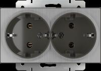 WERKEL Розетка 2-я с/з (глянцевый никель) WL02-SKG-02-IP20