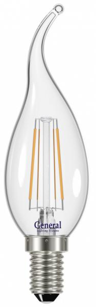 Лампа светодиодная General E14 7Вт свеча филаментная прозр. 640Лм 4500К