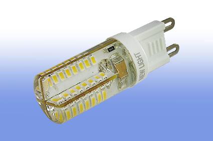 Лампа светодиодная G9 4Вт 64LED 3014 270 lm в силиконе 3000К