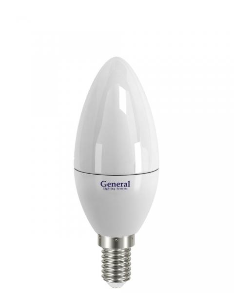 Лампа светодиодная General E14 8Вт свеча 720Лм 6500К