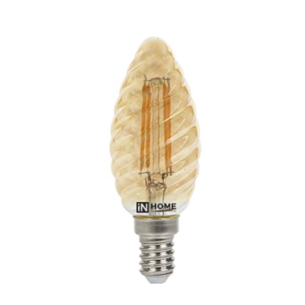 Лампа светодиодная IN HOME E14  7Вт свеча витая золотистая 3000К 630Лм
