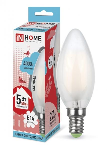 Лампа светодиодная IN HOME E14  5Вт свеча матовая 4000К 450Лм