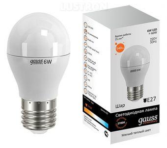 Лампа светодиодная Gauss E27  6Вт Globe Elementary 2700К 420Лм