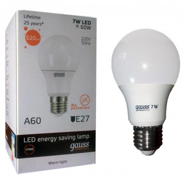 Лампа светодиодная Gauss E27  7Вт A60 Elementary 2700К 520Лм