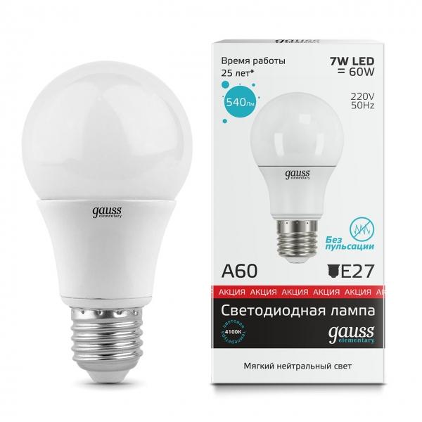 Лампа светодиодная Gauss E27  7Вт A60 Elementary 4100К 540Лм