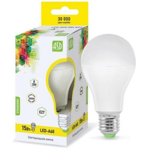 Лампа светодиодная ASD E27 15Вт шар A60 3000К 1200Лм