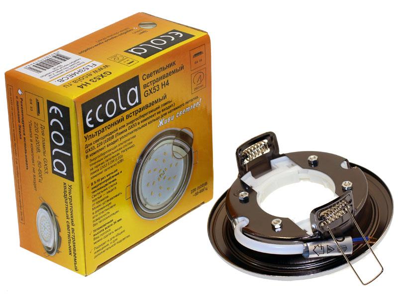 Светильник Ecola GX53 H4 серебро черный хром серебро