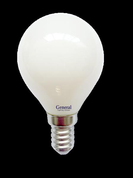 Лампа светодиодная General E14 7Вт G45 550Лм 6500К филам. мат Распродажа!