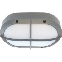 Св-к Ecola B4148S матов овал решет. серый алюм 215х135х65 IP65 Распродажа!!!