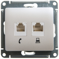 SchE GLOSSA перламутр мех-зм розетки 2-м. комп.+телеф. RJ45+RJ11