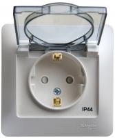 Розетка 1-м GLOSSA с/з з/ш с крышкой IP44 перл.