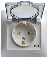 SchE GLOSSA перламутр розетка с/з з/ш с крыш. IP44 16А